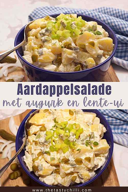 Frisse aardappelsalade met augurk en zilveruitjes | salade met aardappel en augurk