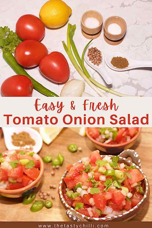 Easy and fresh tomato and onion salad with ingredients and final dish