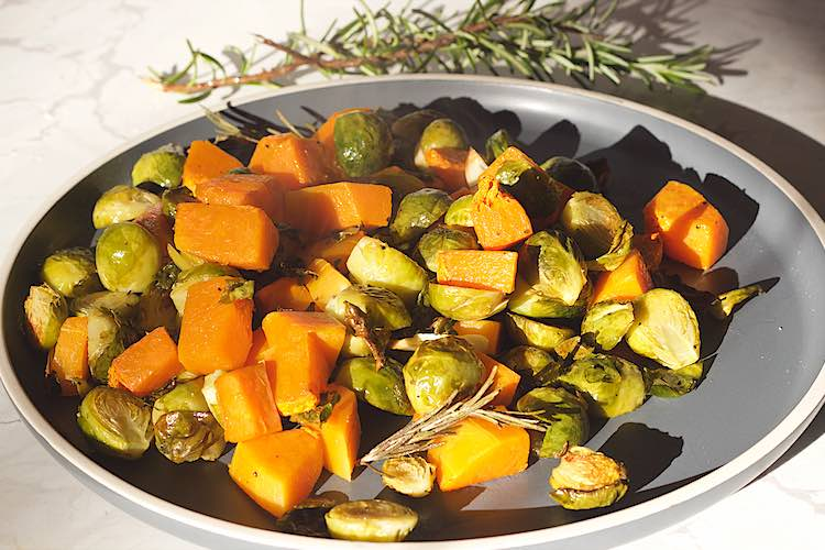 oven roasted brussels sprouts recipe with butternut squash and rosemary
