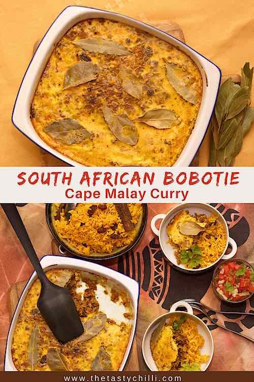 Zuid-Afrikaanse gehaktschotel met tomatensalsa en ui en gele rijst