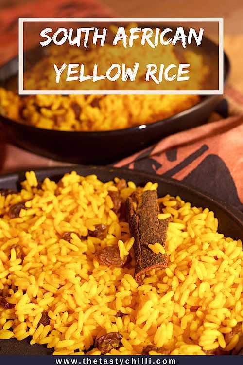 South African yellow rice with cinnamon raisins and turmeric