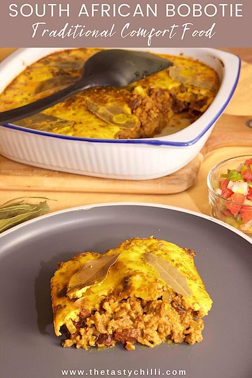Authentieke Zuid Afrikaanse bobotie met laurierblaadjes, ei custard en tomatensambal