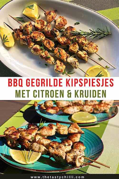 Gegrilde kipspiesjes met citroen en kruiden op de bbq | gegrilde kip brochette | bbq gegrilde kipsate