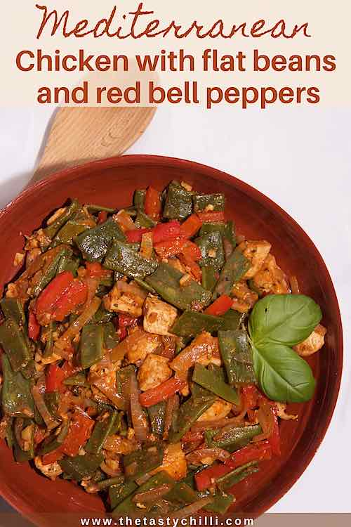 Mediterranean chicken with flat beans and red bell peppers for pin