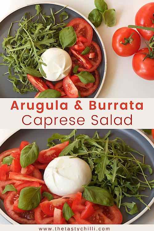 Arugula, tomato and burrata caprese salad