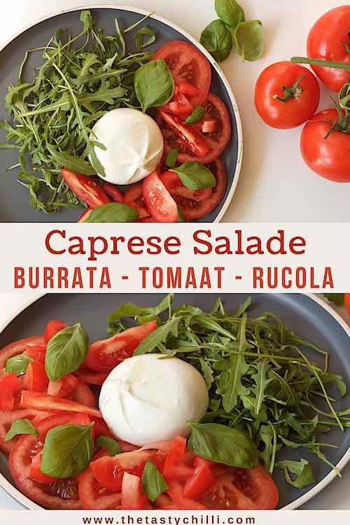 Burrata salade met tomaat en rucola | caprese salade met burrata