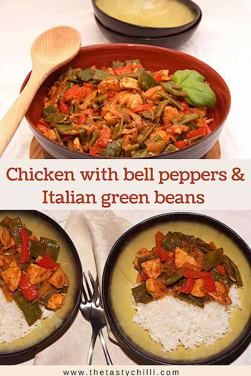 Chicken with bell peppers and Italian green beans 2 images for pin