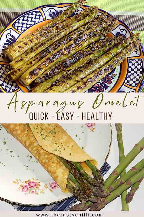 grilled asparagus omelet or omelet with asparagus on a white plate grilled in the pan