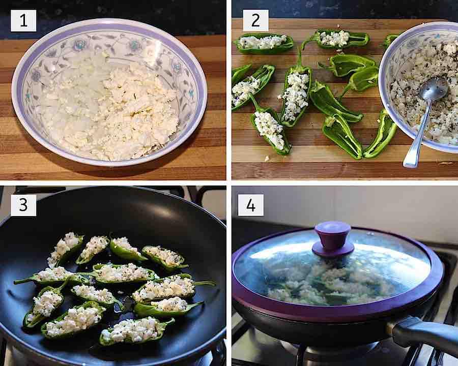 stap voor stap hoe met feta gevulde pimientos de padron te maken