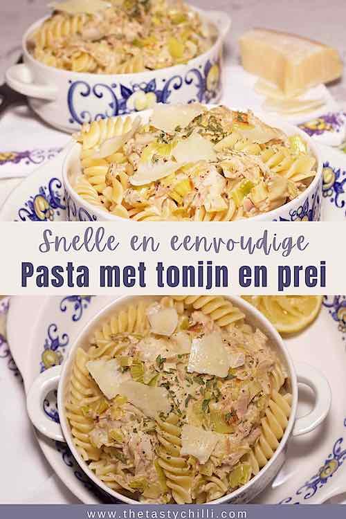 Romige pasta met tonijn en prei met parmezaan krullen en citoen | romige tonijn pasta met prei
