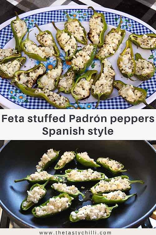 Spanish tapas feta stuffed padron peppers or pimientos de padron