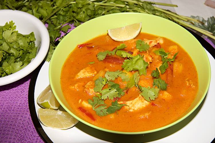 chicken curry with mango cilantro lime and peppers