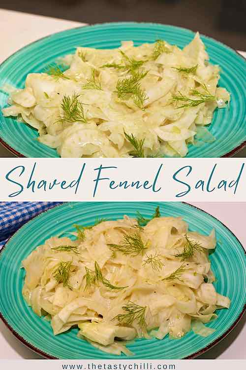 two images of a blue plate with fennel salad with honey mustard dressing and fennel fronds