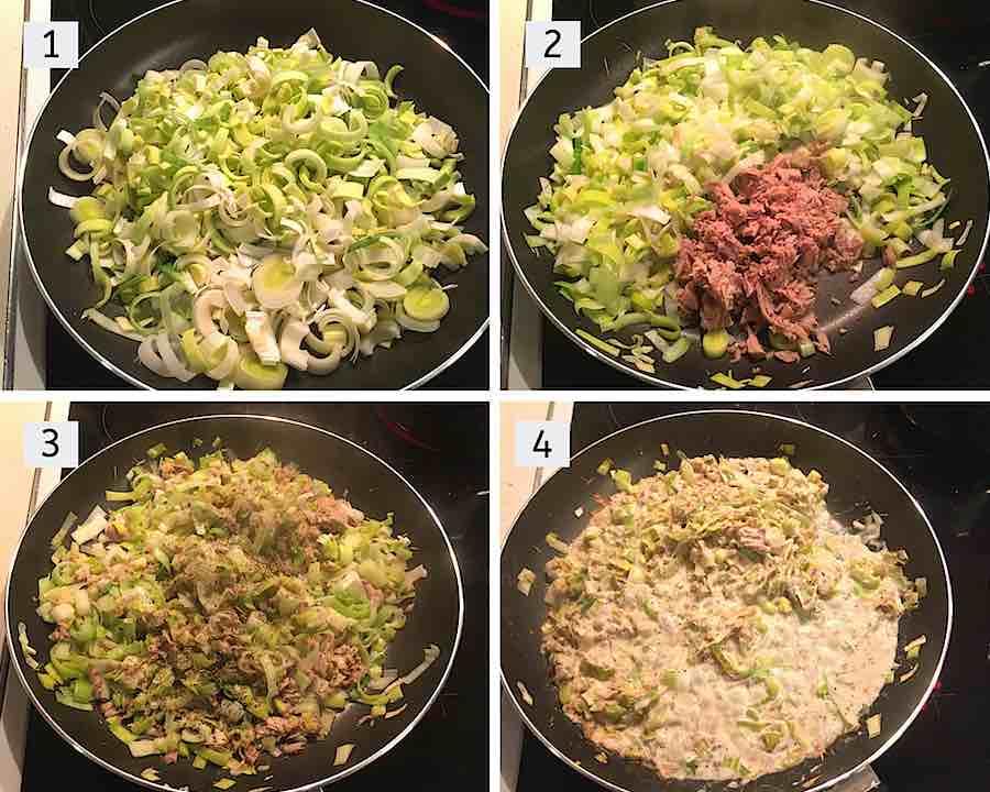 stap voor stap instructions om tonijn pasta met prei te maken