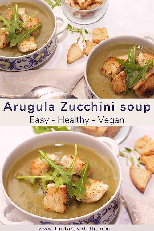 Arugula zucchini soup with croutons is easy healthy and vegan
