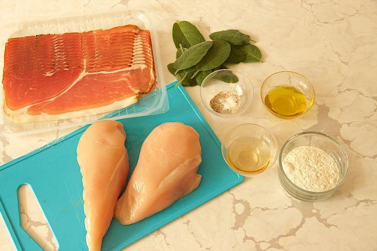 ingredients sage chicken saltimbocca and prosciutto