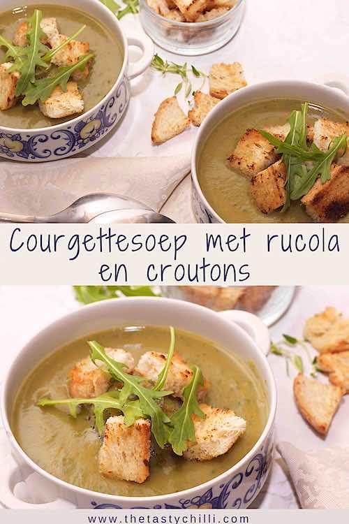 Twee kommen courgettesoep met rucola en croutons op een witte tafel