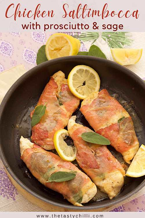 chicken saltimbocca with prosciutto and sage in white wine sauce with lemon
