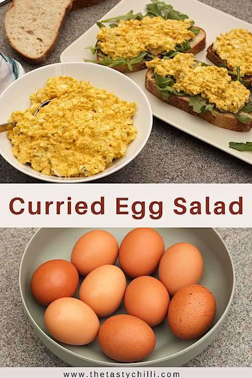 curried egg salad sandwiches with arugula or rocket also called deviled egg salad or egg salad with curry