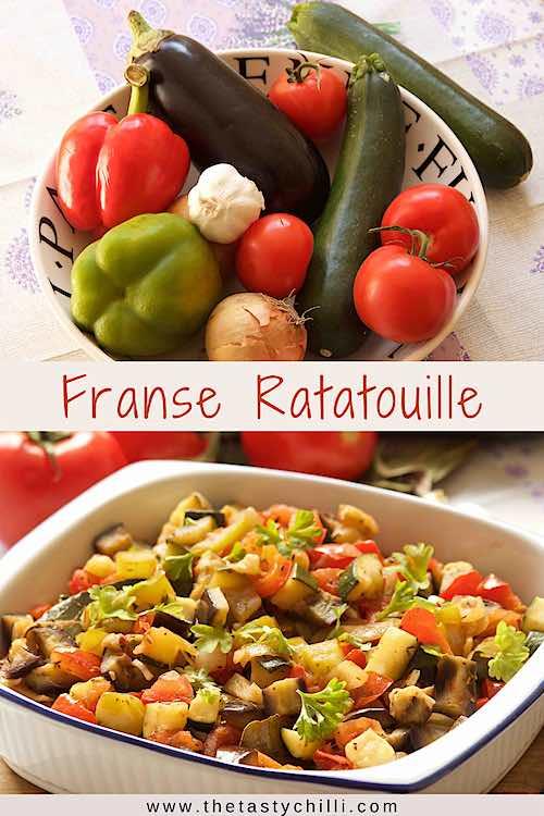 Franse ratatouille recept of franse groenteschotel of franse groentestoofpot met aubergine, courgette, paprika, ui en tomaten