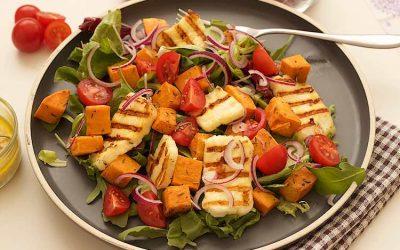 Grilled halloumi salad with sweet potato