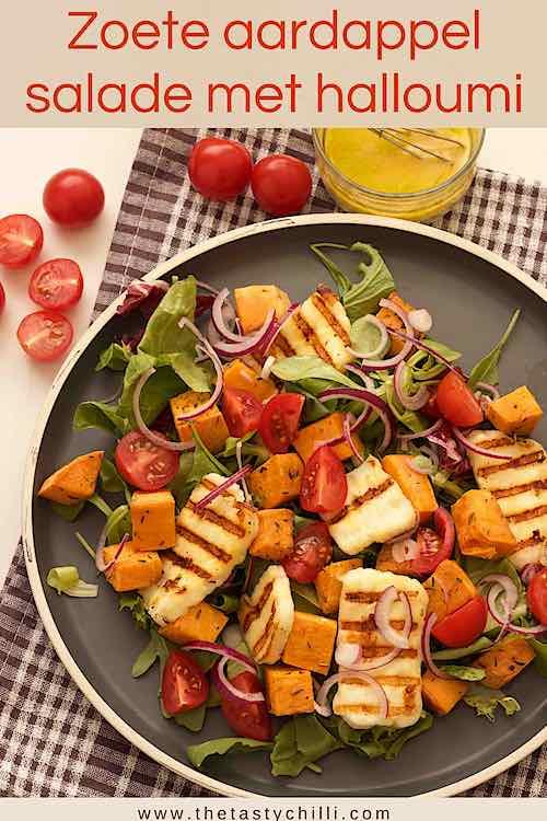 Zoete aardappel salade met halloumi kaas of halloumi salade met zoete aardappel