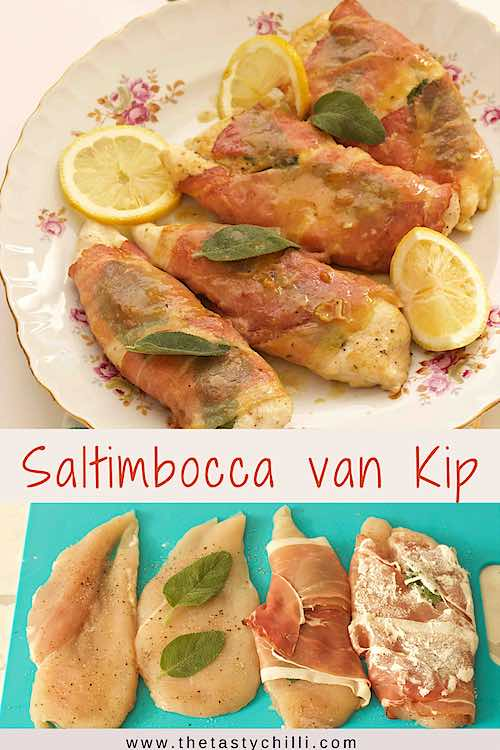 saltimbocca van kip met parmaham en salie in witte wijn saus of kip saltimbocca