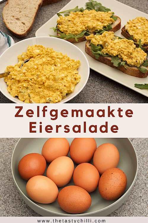 Zelf eiersalade maken met hardgekookte eieren en rucola op brood of zelfgemaakte eiersalade of eiersla