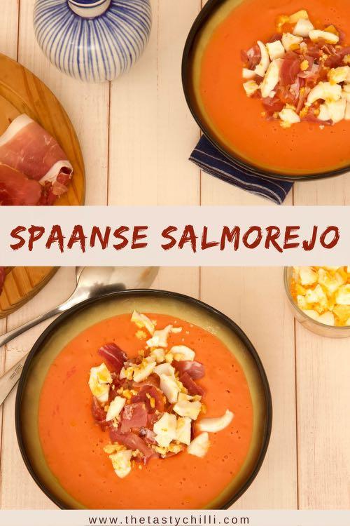 Spaanse Salmorejo is een spaanse koude tomatensoep met tomaten olijfolie brood knoflook rauwe ham en ei