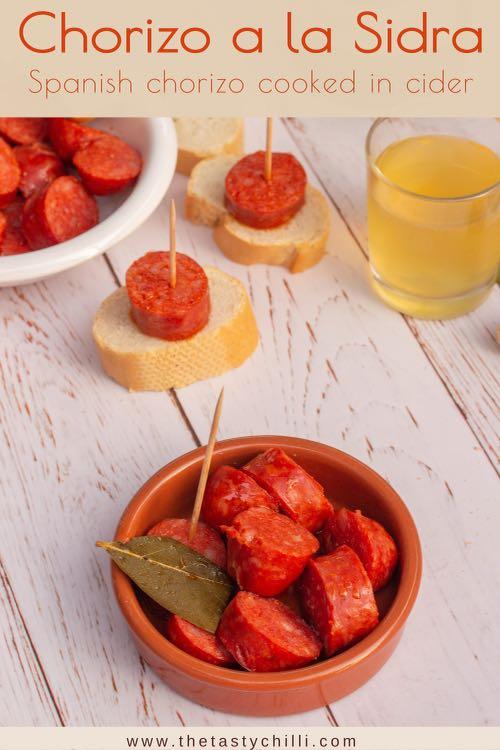 Chorizo a la sidra or Spanish chorizo cooked in cider
